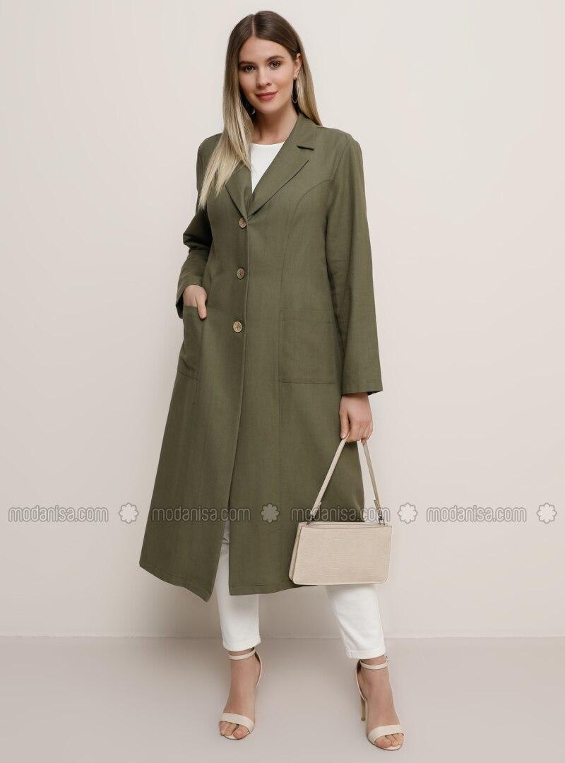 Khaki - Shawl Collar - Unlined -  - Plus Size Jacket