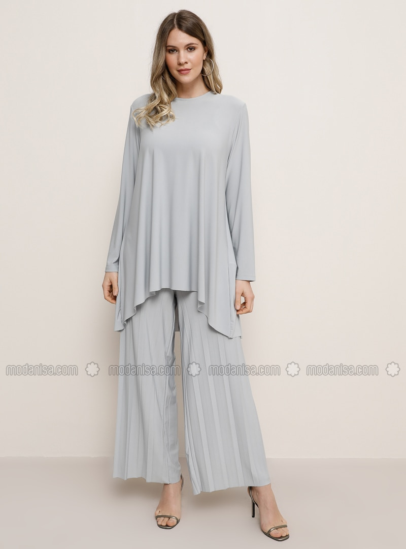 Gray - Crew neck - Unlined - Plus Size Suit