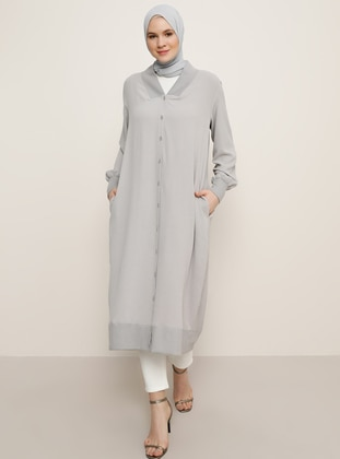 Gray - Unlined - V neck Collar - Plus Size Coat - Alia