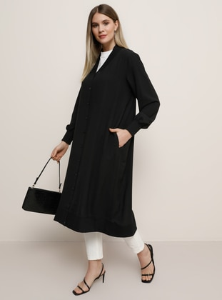 Black - Unlined - V neck Collar - Plus Size Coat