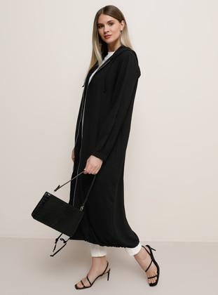 Black - Black - Plus Size Coat