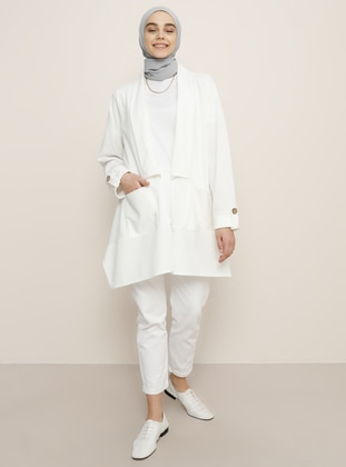 White - Unlined - Shawl Collar - Jacket