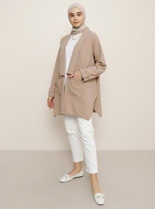 Camel - Unlined - Shawl Collar - Jacket