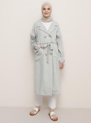 Gray - Unlined - Shawl Collar - Viscose - Topcoat