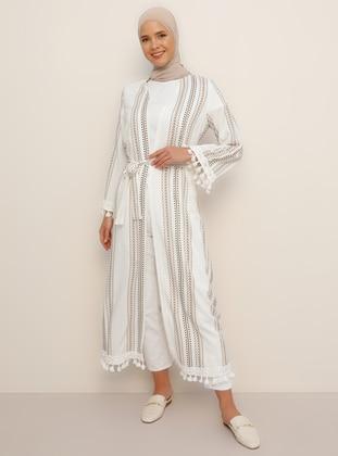 White - Multi - Unlined - Shawl Collar - Viscose - Topcoat