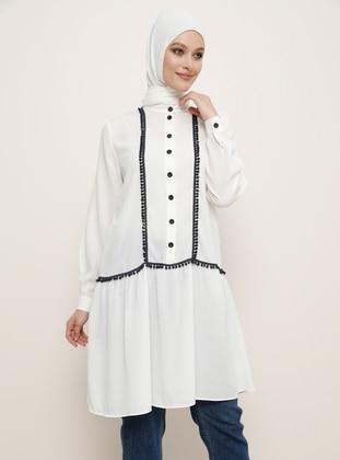 White - Ecru - Button Collar - Viscose - Tunic