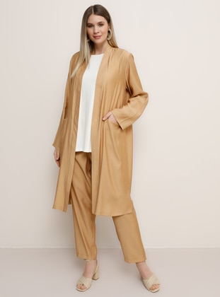 Camel - Shawl Collar - Unlined - Viscose - Plus Size Suit