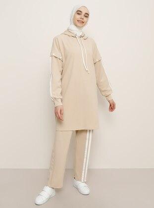 White - Camel - Tracksuit Set