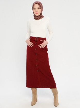 Maroon - Half Lined - Viscose - Skirt