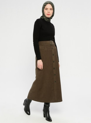 Khaki - Half Lined - Viscose - Skirt