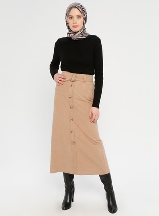 Beige - Half Lined - Viscose - Skirt