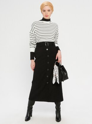 Black - Half Lined - Viscose - Skirt