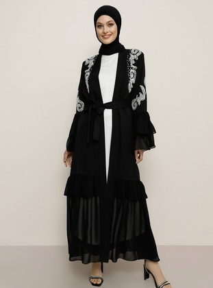 Unlined - White - Black - Round Collar - Evening Suit - Refka