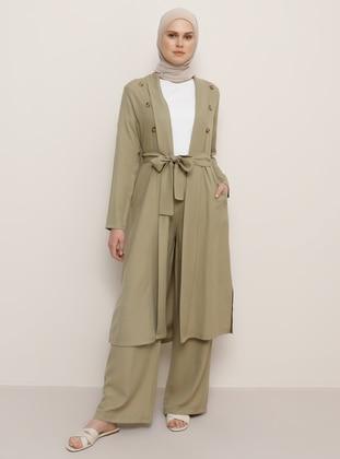 Green - Shawl Collar - Viscose - Topcoat