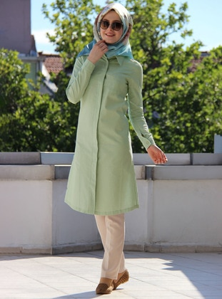 Sea-green - Point Collar - Acrylic - Blouses