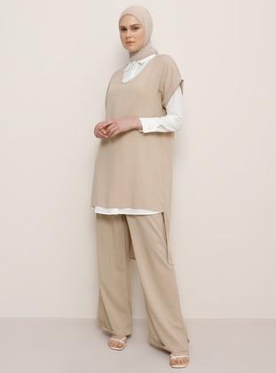 Beige - Unlined - Viscose - White - Ecru - Beige - Unlined - Viscose - Suit