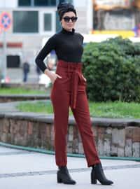 Maroon - Wool Blend - Pants