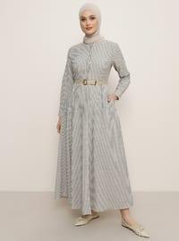 Siyah - Çizgili - Çin yakalı - Elbise