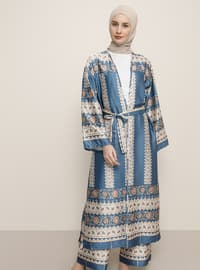 İndigo - Çok Renkli - Astarsız Kumaş - Palto ve Palto