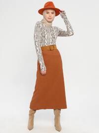 Camel - Half Lined - Viscose - Skirt