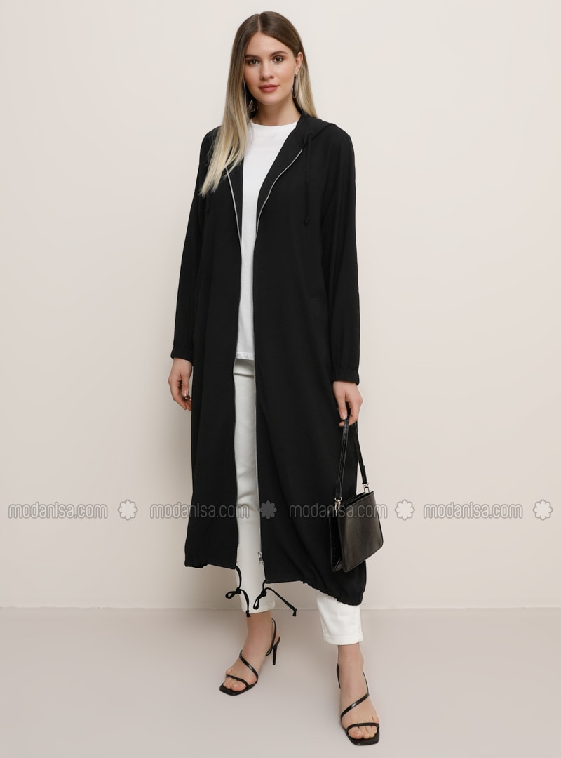 Black - Black - Plus Size Coat