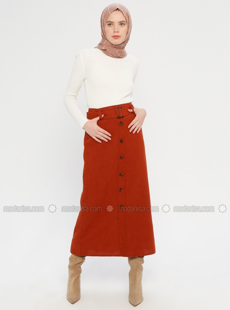 Tan - Half Lined - Viscose - Skirt