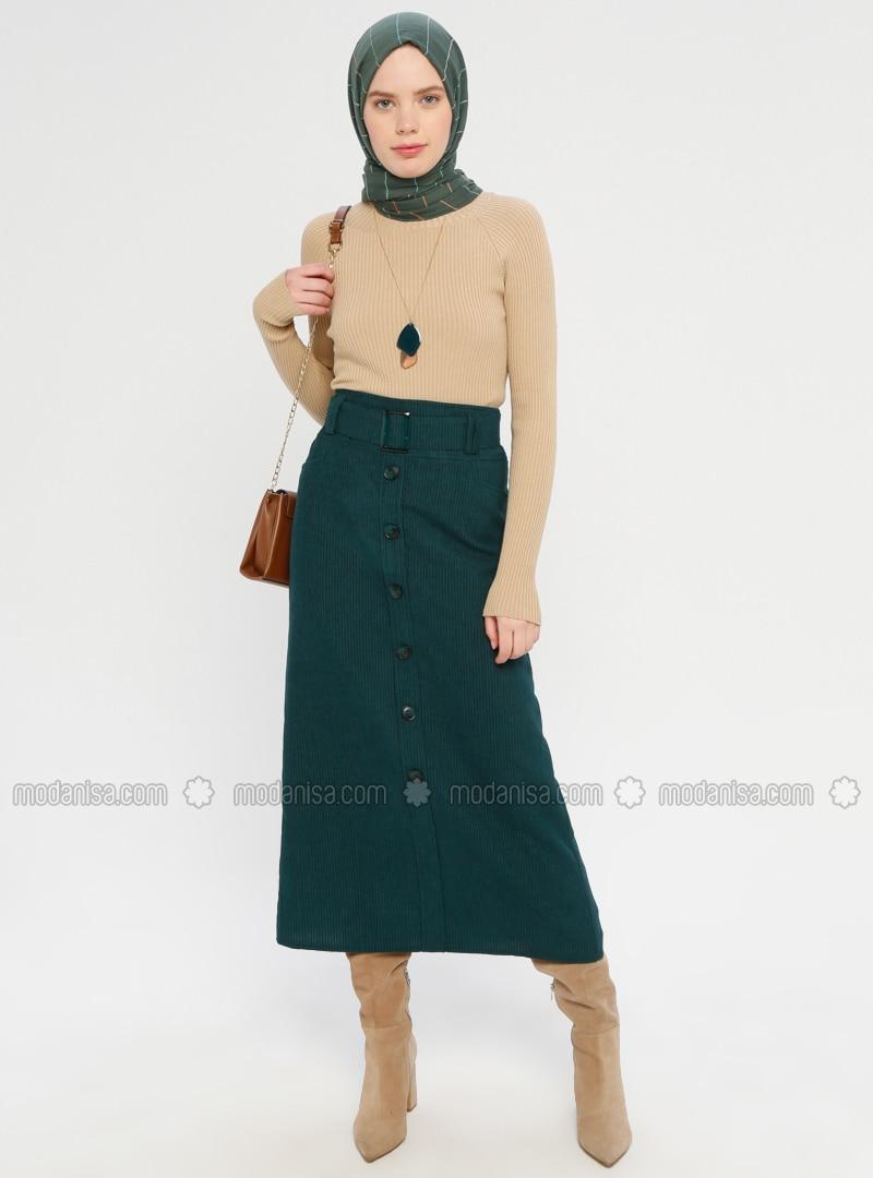 Green - Half Lined - Viscose - Skirt