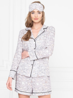 Gray - Shawl Collar - Multi - Viscose - Pyjama Set