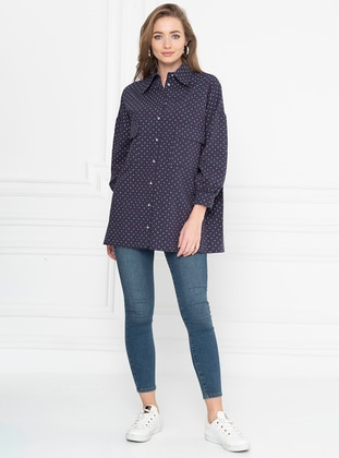 Navy Blue - Multi - Point Collar -  - Tunic
