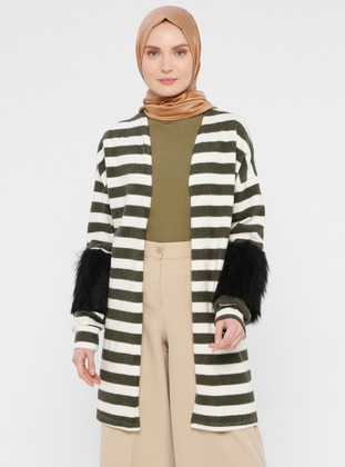 Khaki - Stripe - Cardigan