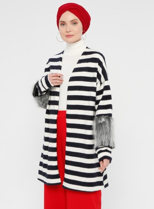 Navy Blue - Stripe - Cardigan