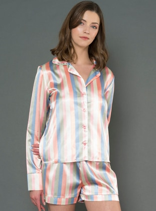 Pink - V neck Collar - Pyjama Set
