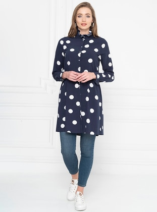 Navy Blue - Polka Dot - Point Collar - Tunic