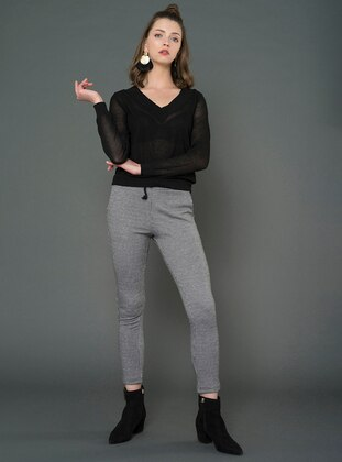 Gray -  - Viscose - Houndstooth - Gym Leggings