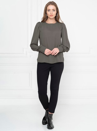 Green - Crew neck - Blouses