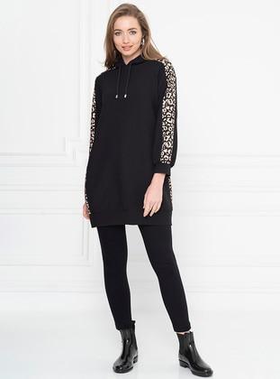 Leopard - Black - Sweat-shirt