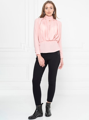 Pink - Polo neck - Blouses