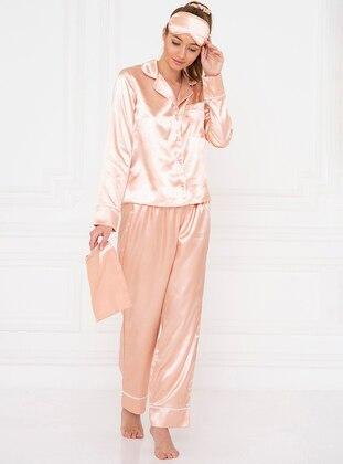 Gold - Rose - Shawl Collar - Pyjama Set