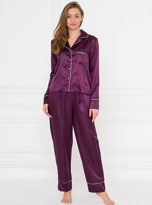 Purple - Shawl Collar - Pyjama Set