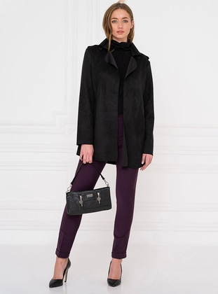 Black - Shawl Collar - Trench Coat