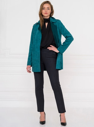 Green - Shawl Collar - Trench Coat