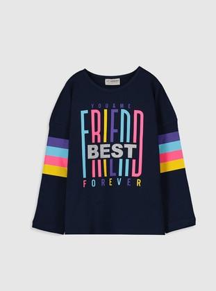 Navy Blue - Girls` T-Shirt - LC WAIKIKI