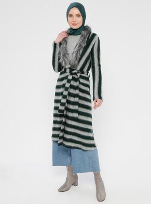 Green - Stripe - V neck Collar -  - Cardigan