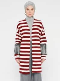 Maroon - Stripe - Cardigan