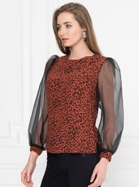 Terra Cotta - Black - Multi - Crew neck - Blouses