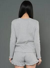 Gray - Crew neck -  - Pyjama Set