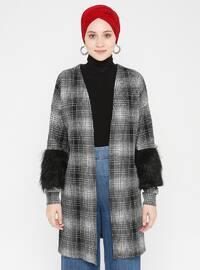 Gray - Checkered - V neck Collar - Cardigan