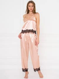 Gold - Rose - V neck Collar - Pyjama Set