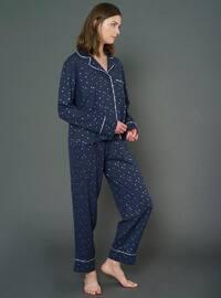 Navy Blue - V neck Collar - Pyjama Set