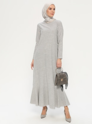 Khaki - Crew neck - Unlined -  - Dress